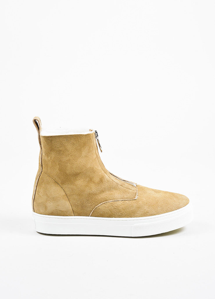Tan Celine Suede Shearling Lined Zipper High Top Sneaker Boots Side