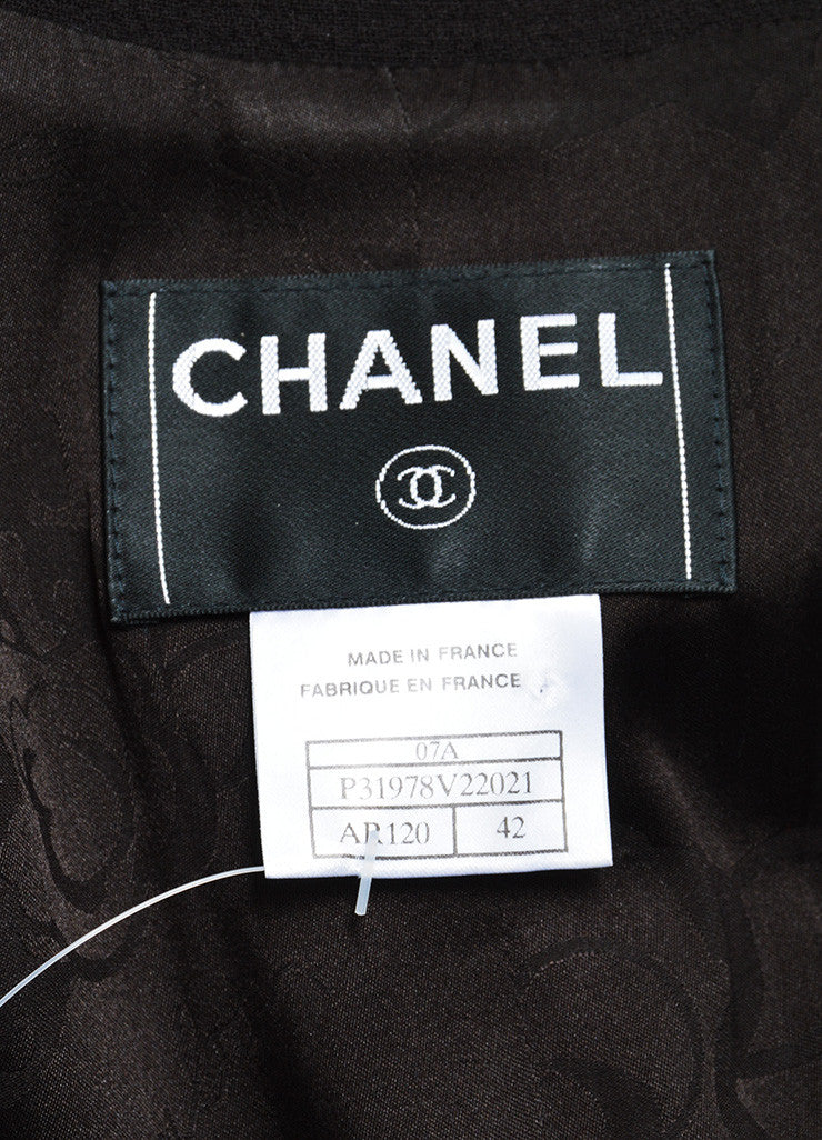 Dark Brown Chanel Wool Belted Jacket and Short Skirt Two Piece Suit Brand