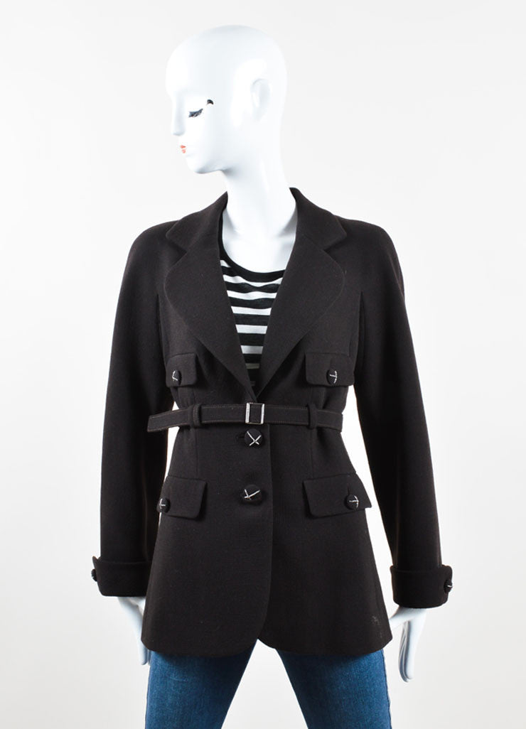 "Chanel Dark Brown Wool ""CC"" Chain Trim Belted Jacket Frontview"