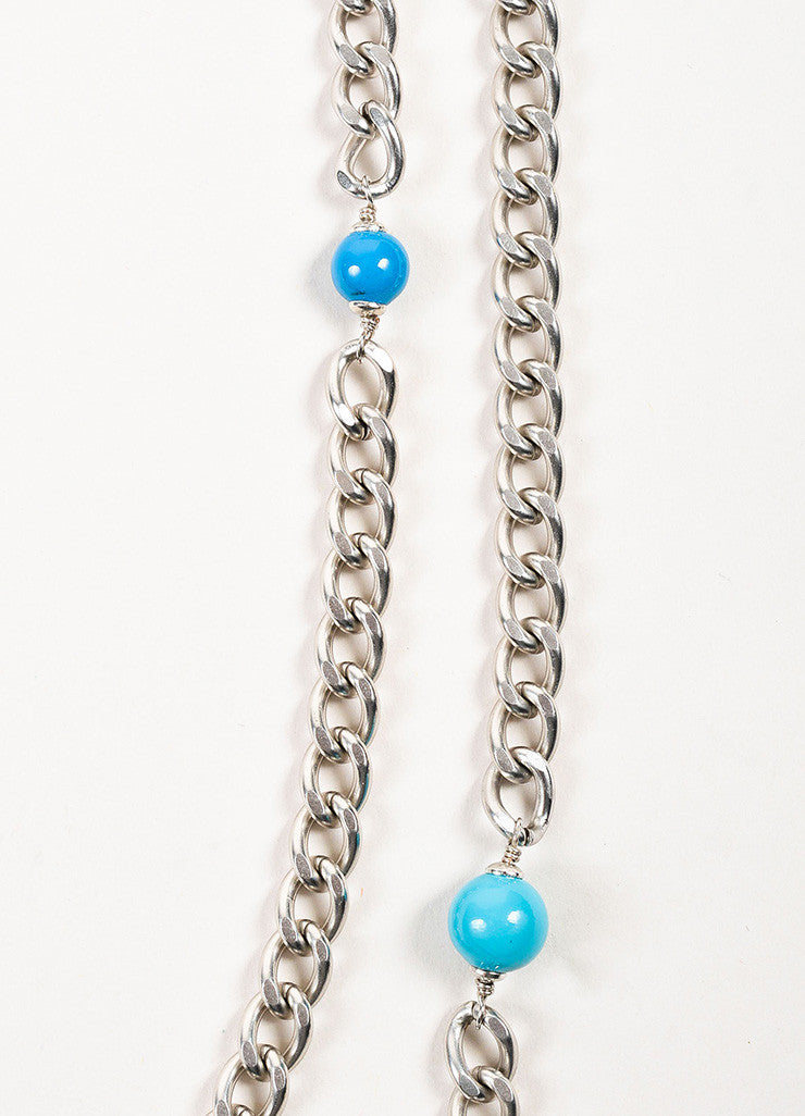 Chanel Silver Toned and Turquoise Resin Crystal Tweed Chain Pendant Necklace Detail 3
