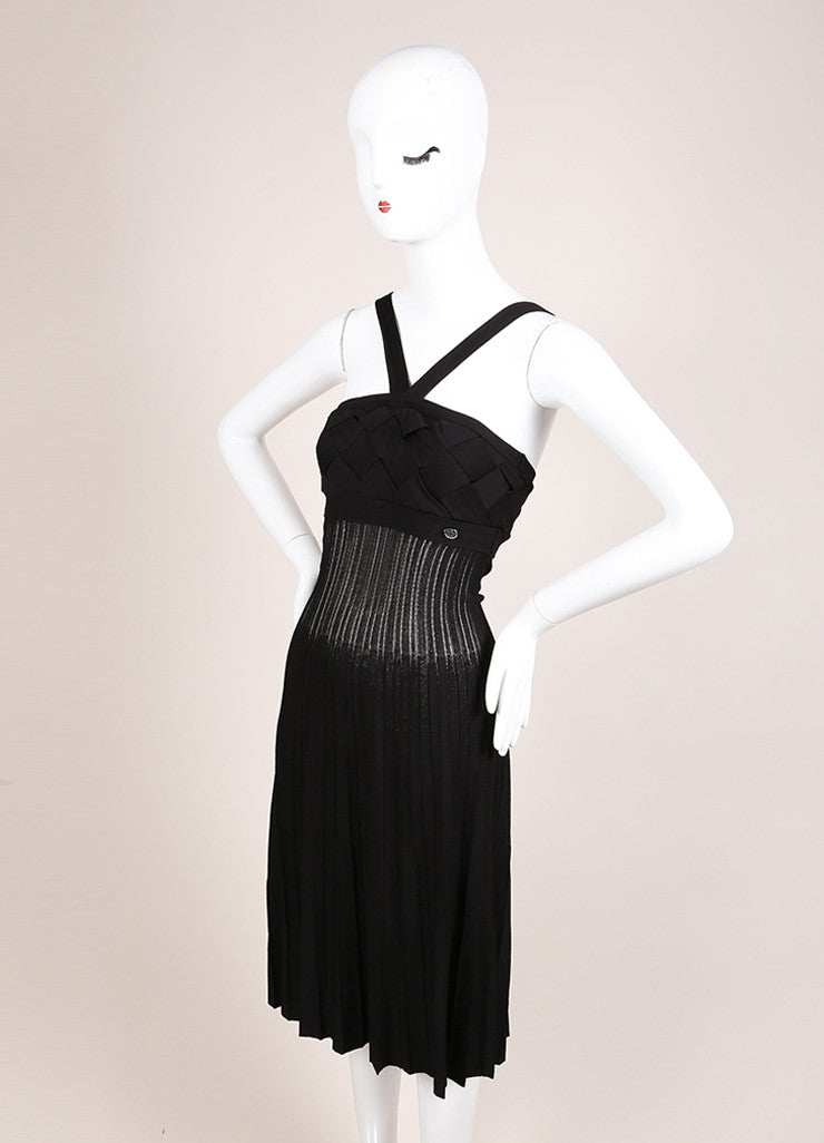 Chanel Black Knit Woven Pleated Empire Waist Sleeveless Dress Sideview