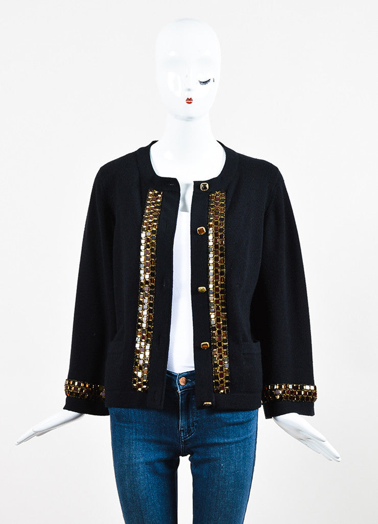 Black Chanel Cashmere Embellished Bead Trim Cardigan Sweater Front