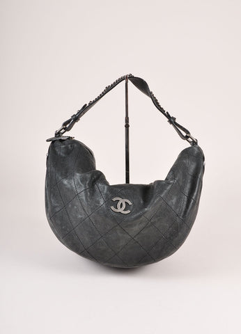 "Chanel Black Caviar Leather Diamond Stitched ""CC"" Logo Chain Detail Hobo Bag Frontview"