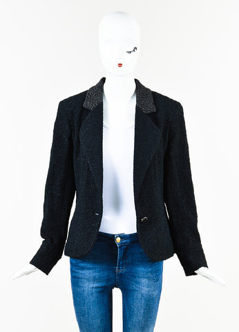Chanel Black Textured Knit 'CC' Logo Button Jacket Frontview