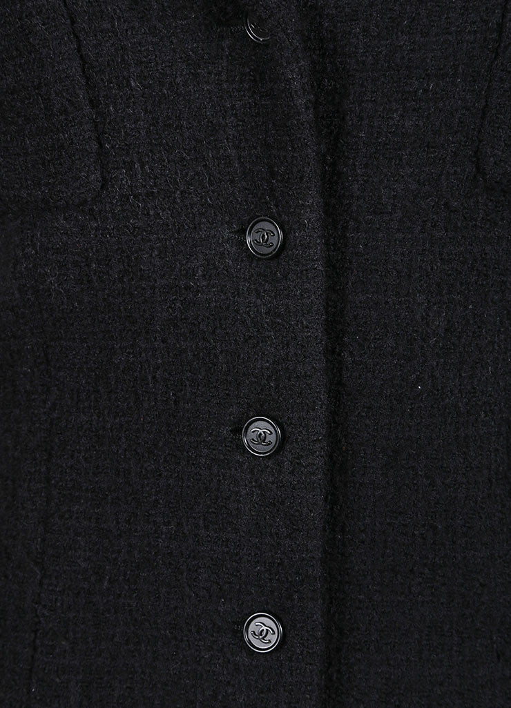 Chanel Black Wool and Angora Knit Jacket Detail