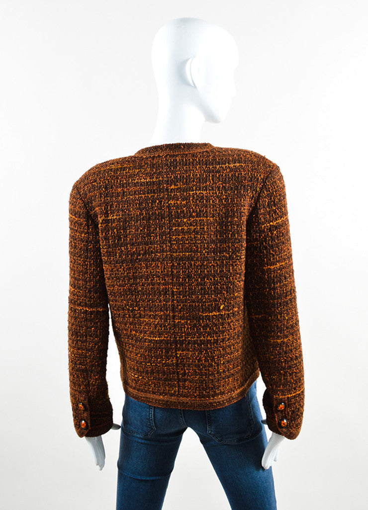 Chanel Brown and Orange Wool Tweed Boxy Cropped Blazer Backview