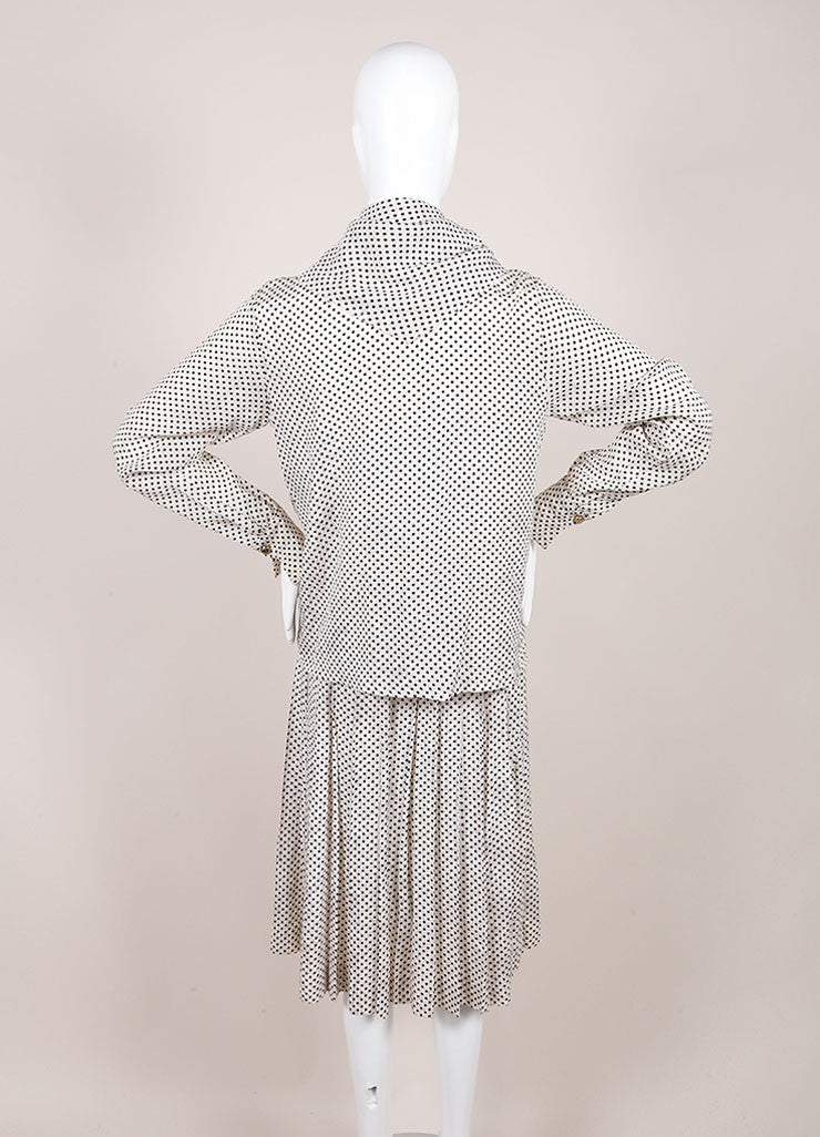 Chanel Cream and Black Silk Jacquard Polka Dot Print Blouse Top, Skirt and Scarf Set Backview