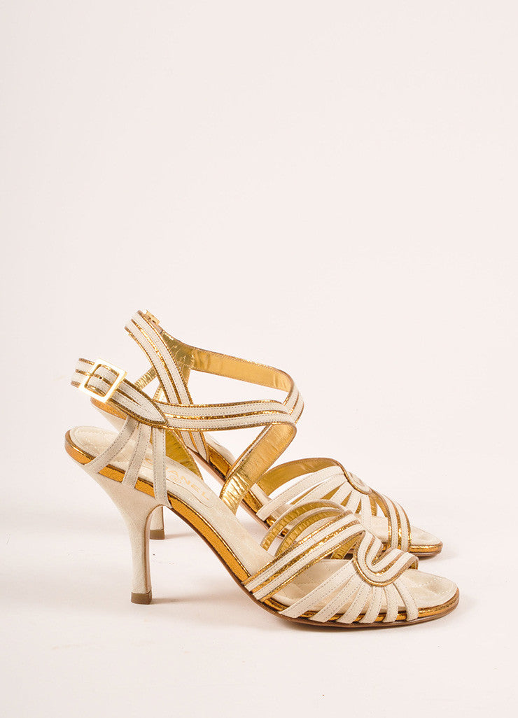 Chanel New In Box White and Bronze Suede Metallic Leather Strappy Sandal Heels Sideview