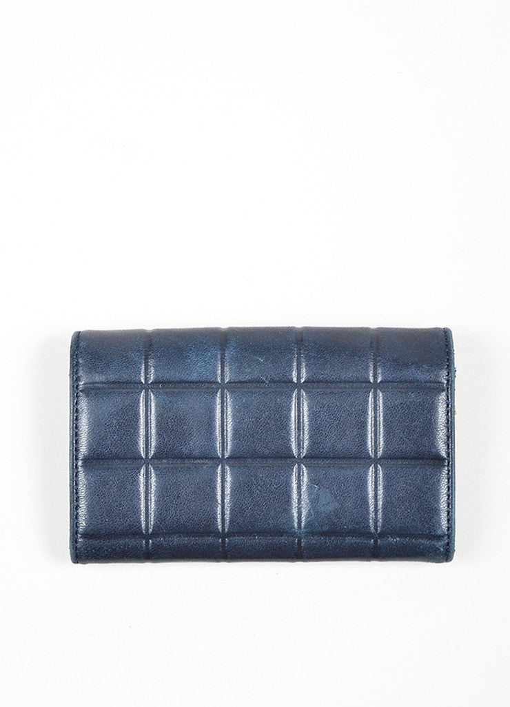Navy and Silver Toned Chanel Lambskin Leather Fold Over Quilted Wallet Backview