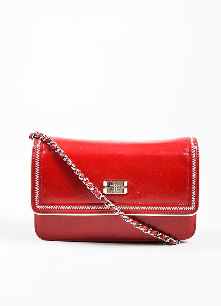 Red and White Leather Chanel Reissue Wallet On Chain Frontview