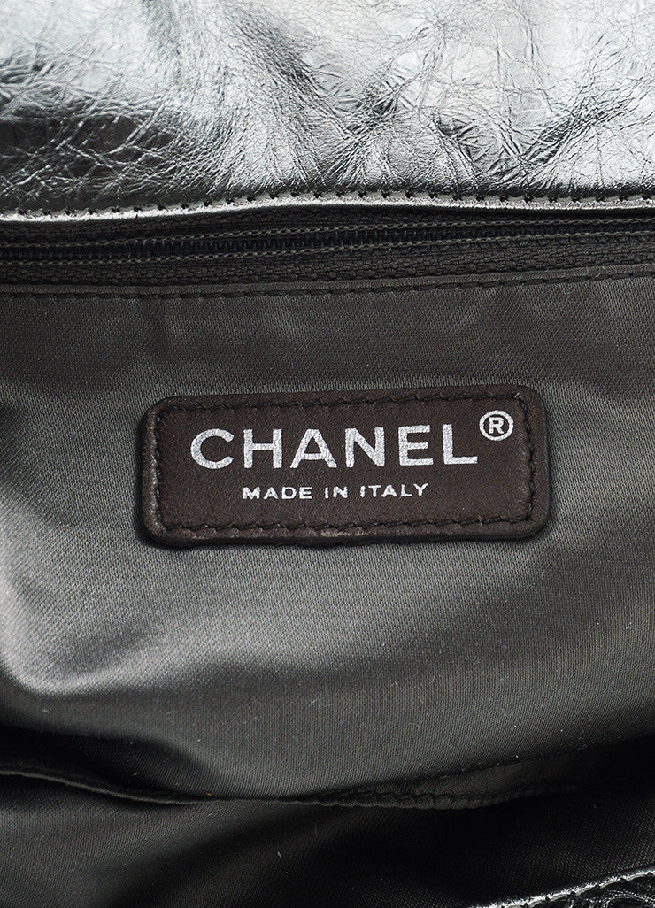 "Chanel Silver and Black 'CC' Logo Gradient Leather Trim ""Hollywood Hobo"" Bag Brand"