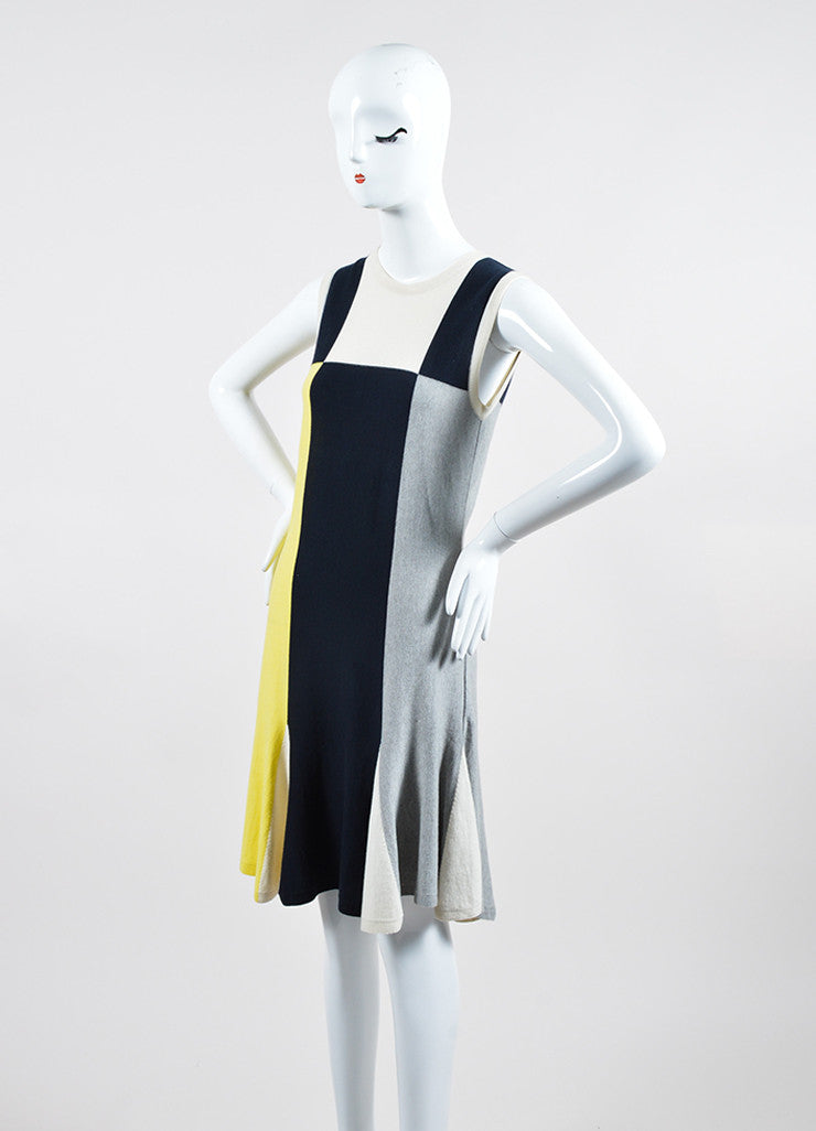 Yellow, Blue, and Grey Chanel Cotton and Cashmere Blend Sleeveless Knit Dress Sideview