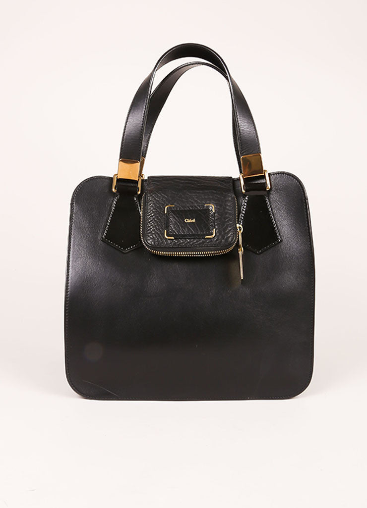Chloe Black Leather Satchel Tote Bag Frontview