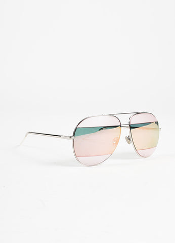 "Christian Dior Silver Toned, Pink, and Teal Frosted Stripe ""Split 2"" Aviator Sunglasses Sideview"