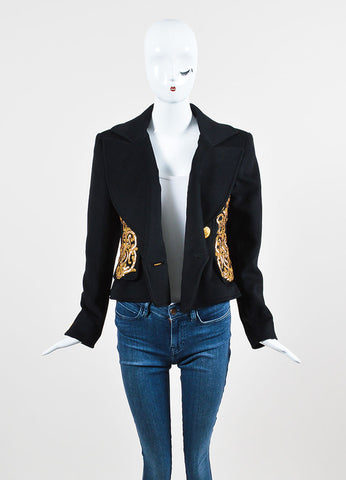Black and Gold Ì_Ì_å¢Ì_?ÁÌ_Ì_Christian Lacroix Wool and Cashmere Sequin Embellished Jacket Frontview