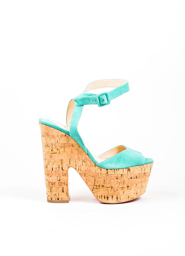 "Teal Christian Louboutin Suede Cork ""Super Dombasle"" Sandals Sideview"