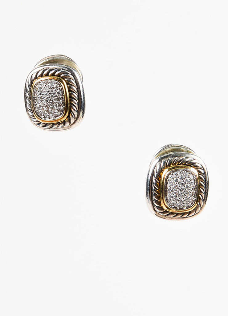"David Yurman Sterling Silver 18K Gold Diamond ""Albion"" Cable Trim Earrings Frontview"