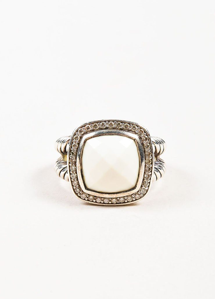 "David Yurman Sterling Silver, White Agate, and Pave Diamond ""Albion"" Ring Frontview"