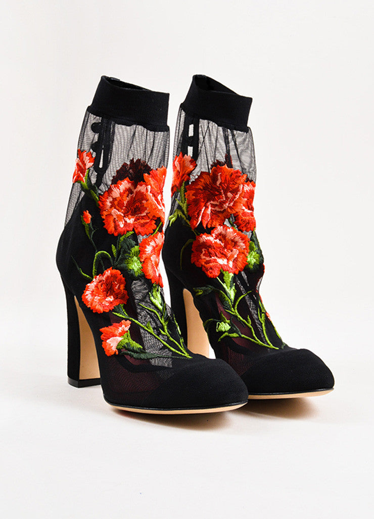 Dolce & Gabbana Black and Red Mesh Rose Suede Heel Sock Booties Frontview