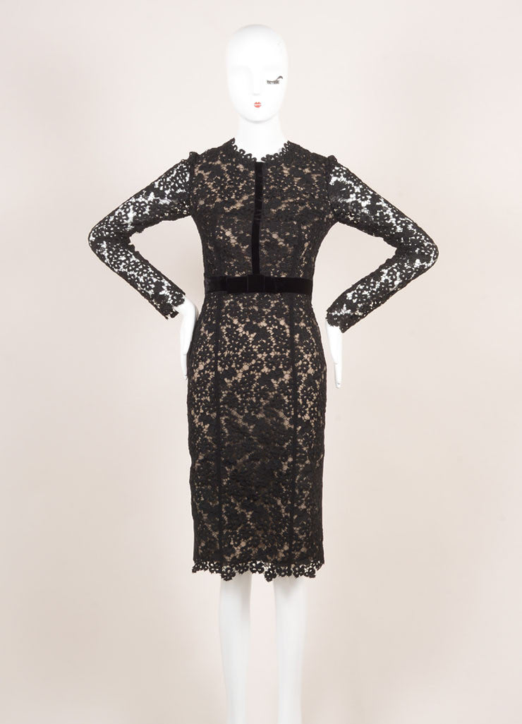 "Erdem New With Tags Black and Nude Eyelet Lace Velvet Trim ""Cherise"" Dress Frontview"