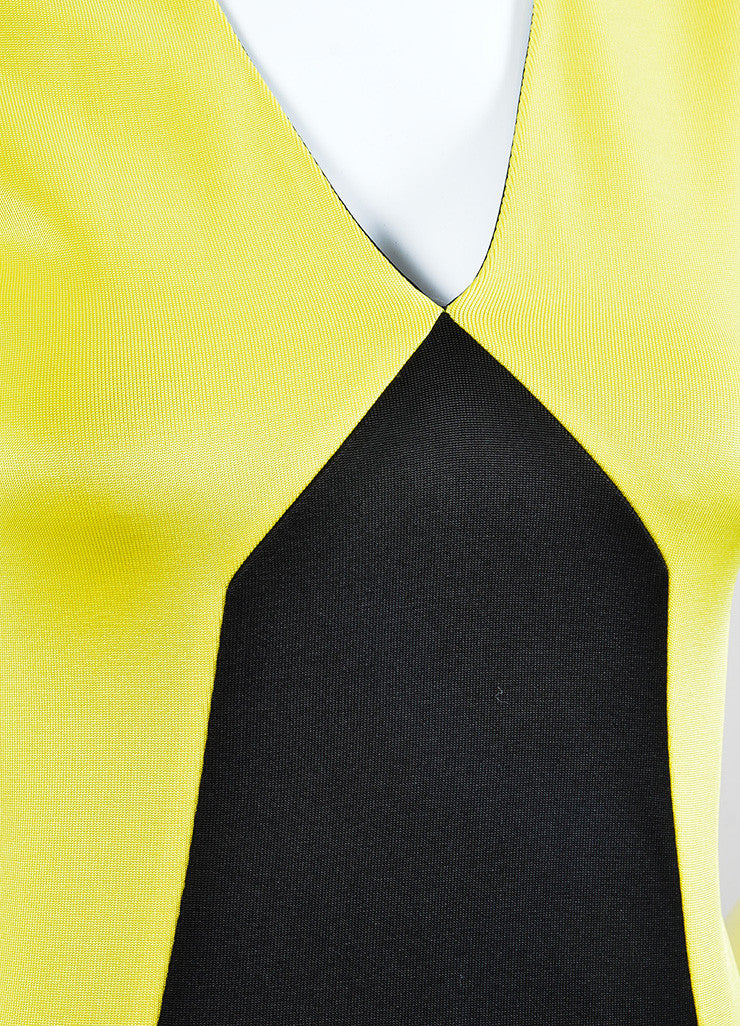 Black and Yellow Fausto Puglisi Colorblock Sleeveless Sheath Dress Detail