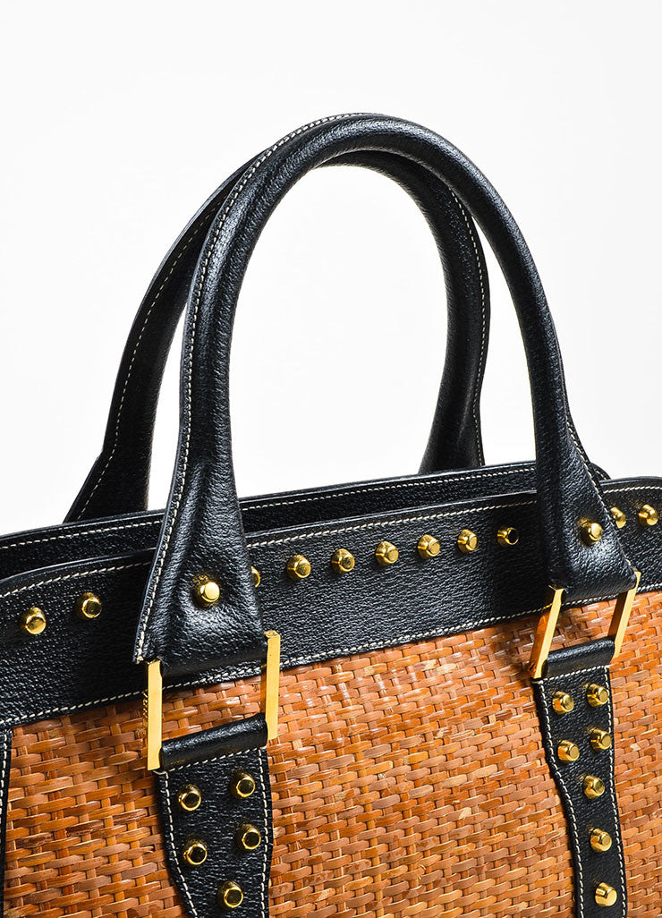 Tan and Gold Fendi Leather and Raffia Studded Top Handle Tote Bag Detail 2