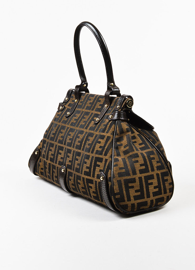"Fendi ""Tobacco"" Brown Canvas Leather 'FF' Monogram ""Zucca Magic"" Satchel Bag Sideview"