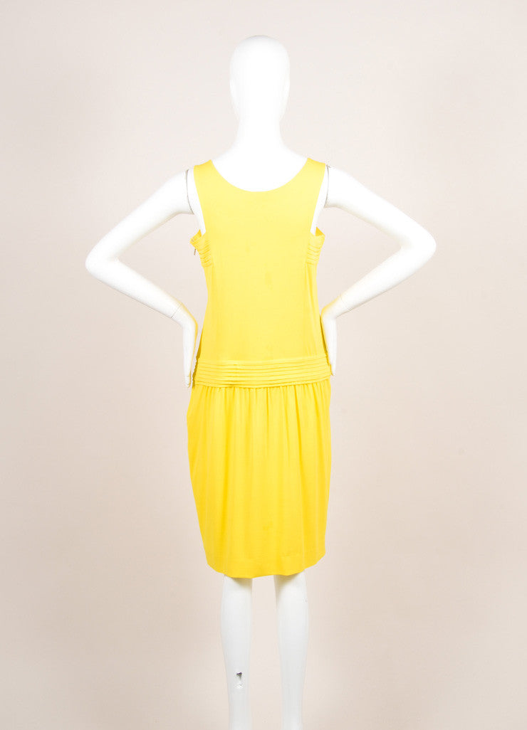 Fendi Yellow Jersey Pleated Sleeveless Dress Backview