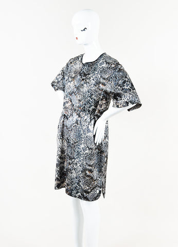 Giambattista Valli Gray Brown White Jacquard Dress Side