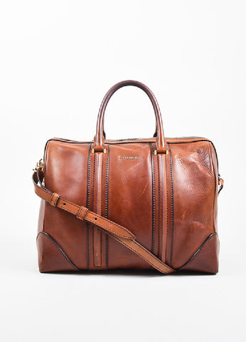 "Givenchy Brown Leather ""Large Lucrezia"" Zip Over Night Shoulder Bag Frontview"