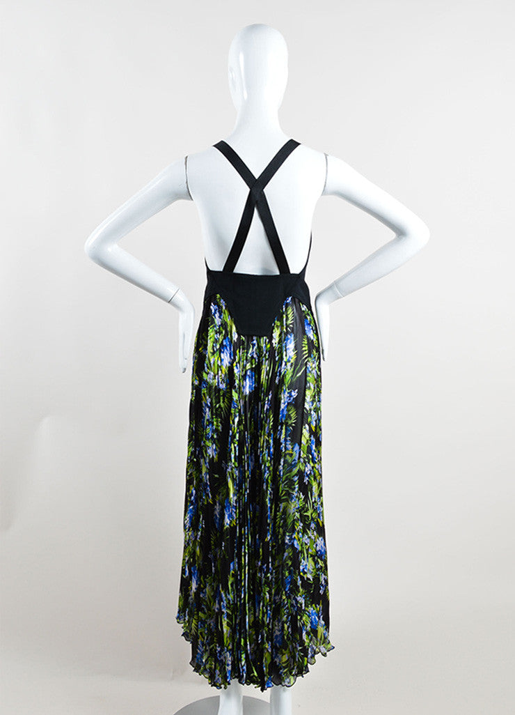 Givenchy Black, Green, and Blue Tropical Floral Print Pleated Sleeveless Maxi Dress Backview