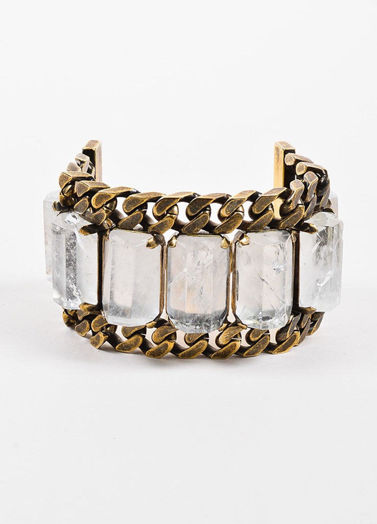 Givenchy Brass Toned Rock Crystal Chunky Curb Chain Link Wide Bracelet