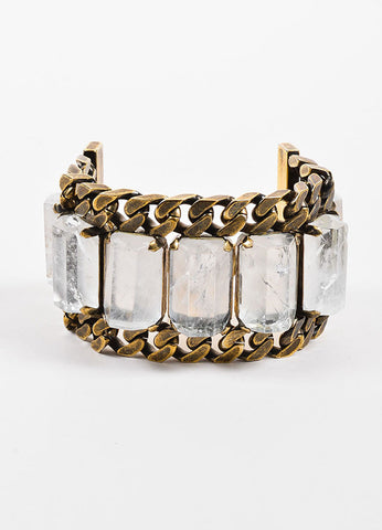 designer for givenchy y8su  Givenchy Brass Toned Rock Crystal Chunky Curb Chain Link Wide Bracelet