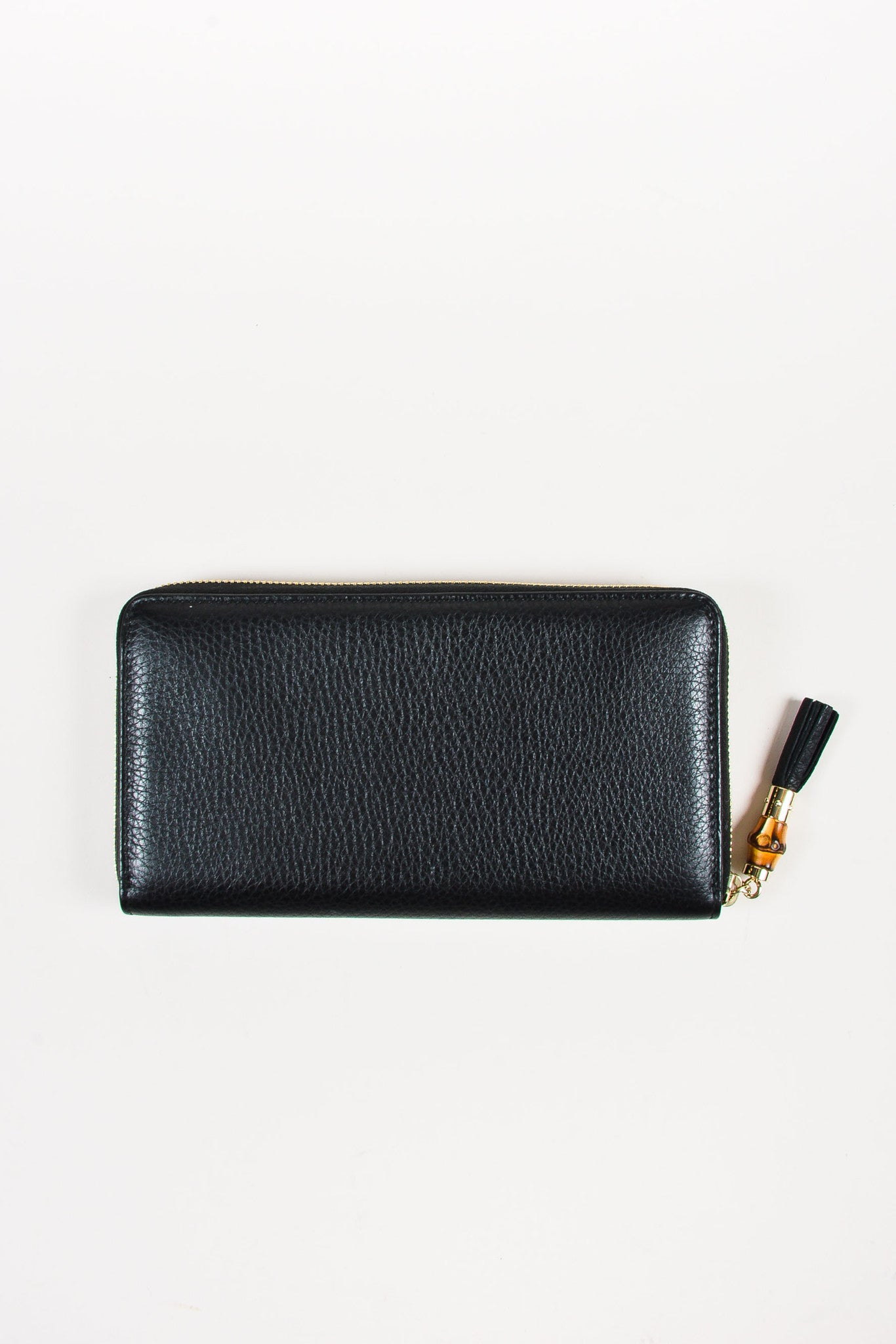 "Gucci Black Gold Toned Leather Bamboo Tassel ""Zip Around"" Wallet Backview"
