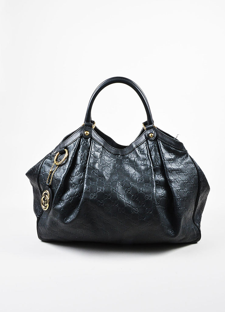 "Gucci Black Leather Guccissima Large ""Sukey"" Tote Bag Frontview"