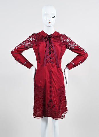 Cranberry Red Gucci Crotcheted Long Sleeve Laceup Dress Front