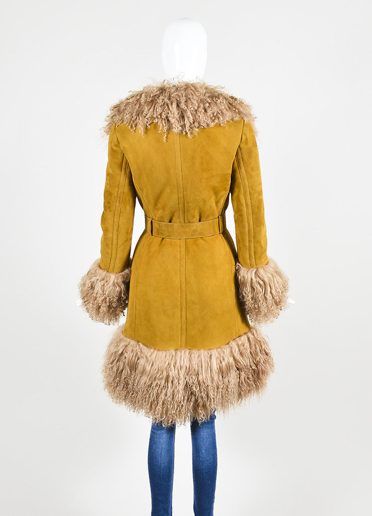 Tan Gucci Shearling Mongolian Fur Double Breasted Belted Coat Backview