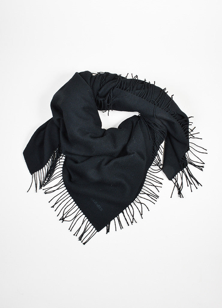 Black Hermes Cashmere and Wool Fringe Throw Blanket Frontview
