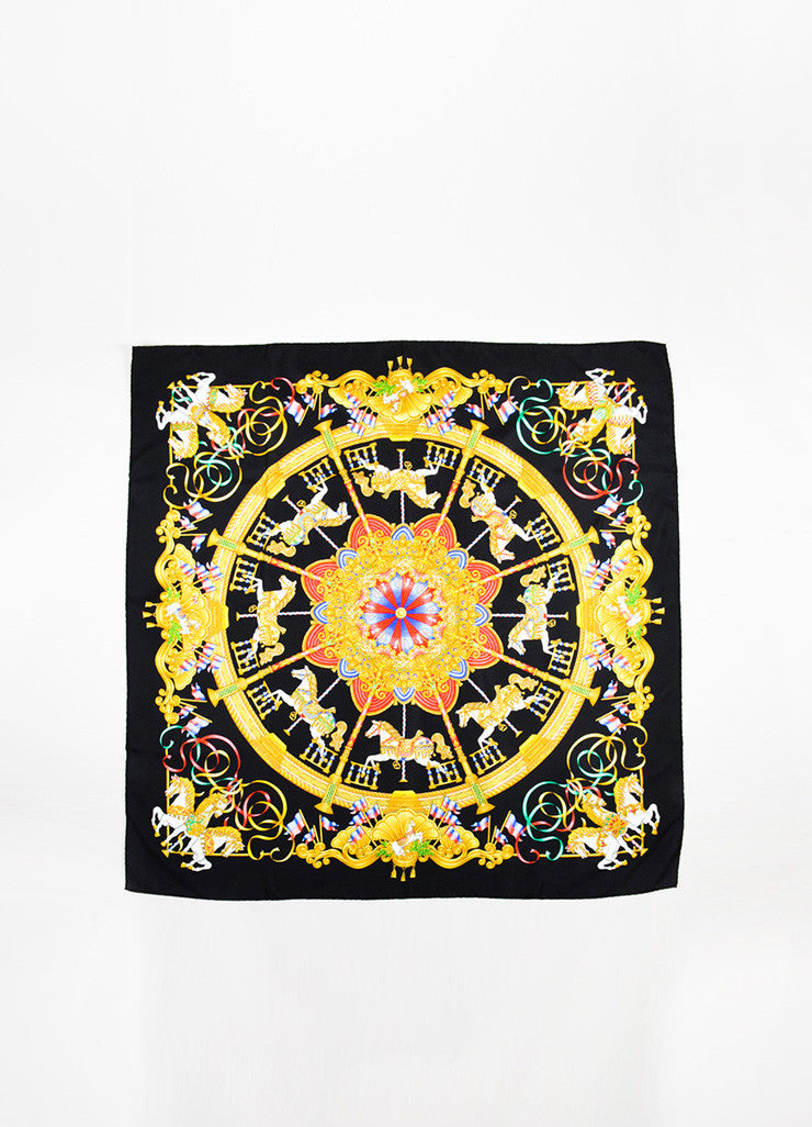 "Hermes Black, Gold, and Multicolor Silk Carousel Motif ""Luna Park"" Scarf Frontview 2"