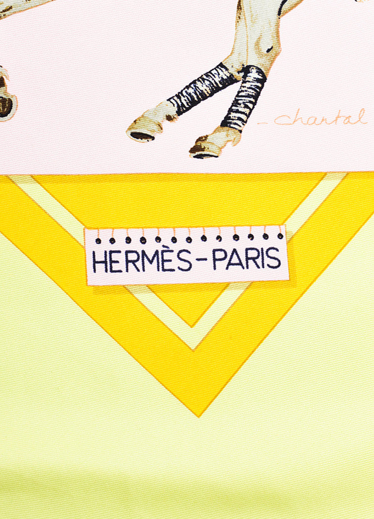"Hermes Pink, Yellow, and Green Silk Polo Tournament ""Cup Palm Beach"" Print 90cm Scarf Brand"
