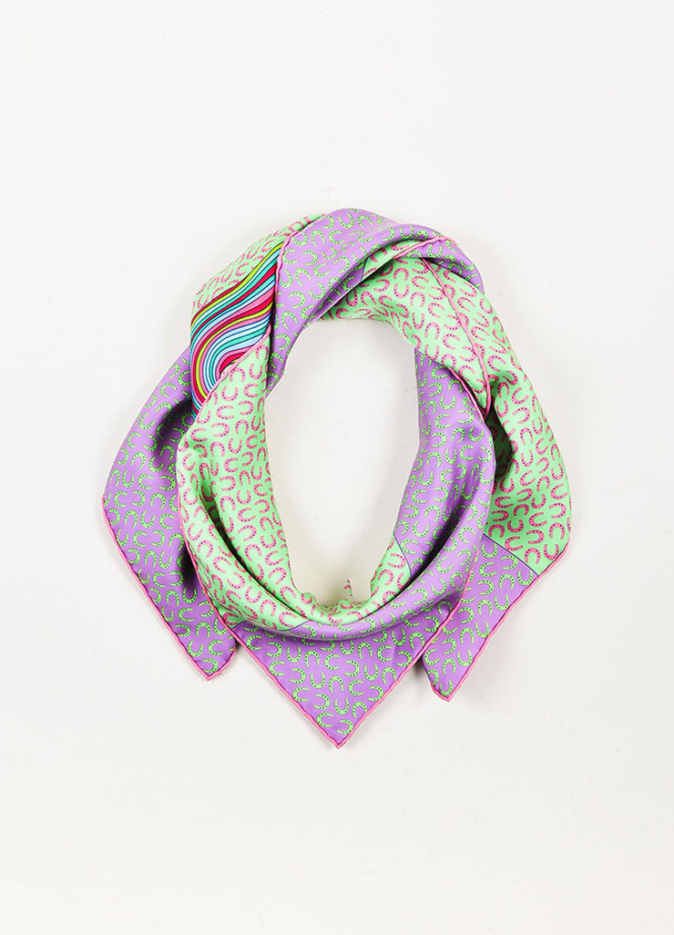 "Hermes Purple and Green Silk ""A Cheval Sur Mon Carre"" Horse Print 90cm Scarf Frontview"