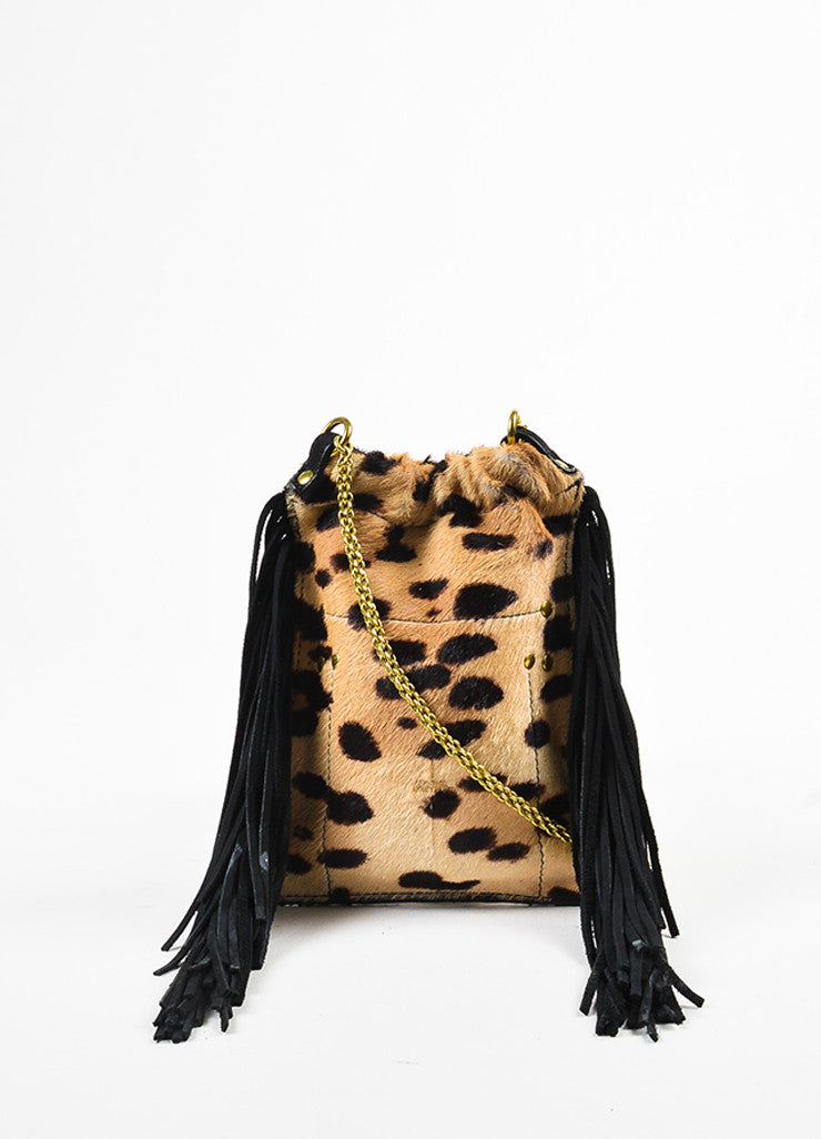 Jerome Dreyfuss Tan and Black Pony Hair Cheetah Print Suede Fringe Pouch Bag Frontview