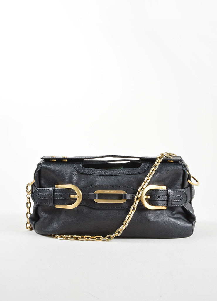 "Jimmy Choo Black Leather Chain Strap ""Thalma"" Shoulder Bag Frontview"