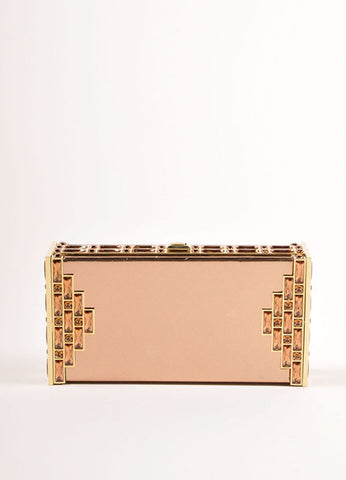 Judith Leiber Rose Gold Jewel Trim Rectangular Clutch Bag Frontview