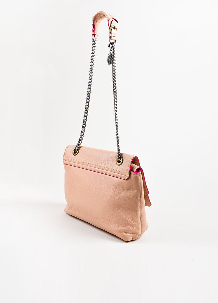 "Blush Pink Lanvin Grained Leather Chain Strap ""Happy Medium"" Bag Back"