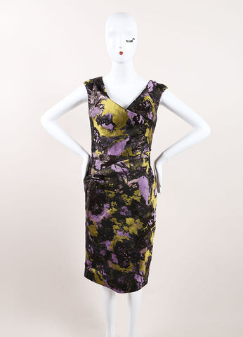 Lela Rose New With Tags Black, Green, and Purple Metallic Brocade Printed Dress Frontview