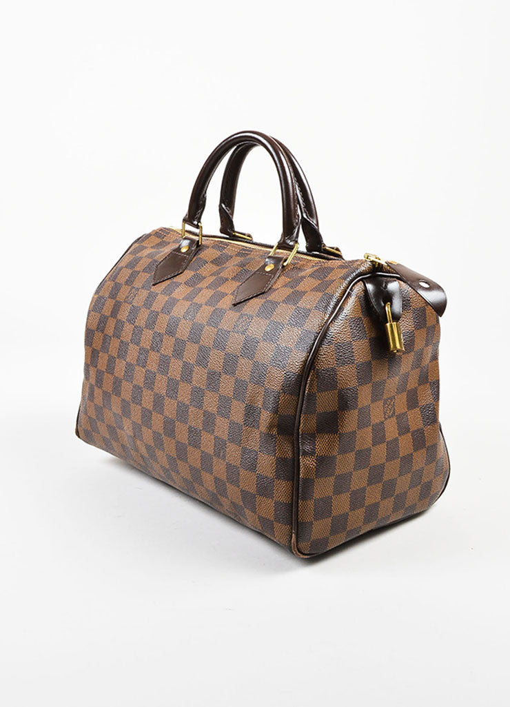 "Louis Vuitton Brown Damier Ebene Canvas Leather Trim ""Speedy 30"" Bag Sideview"