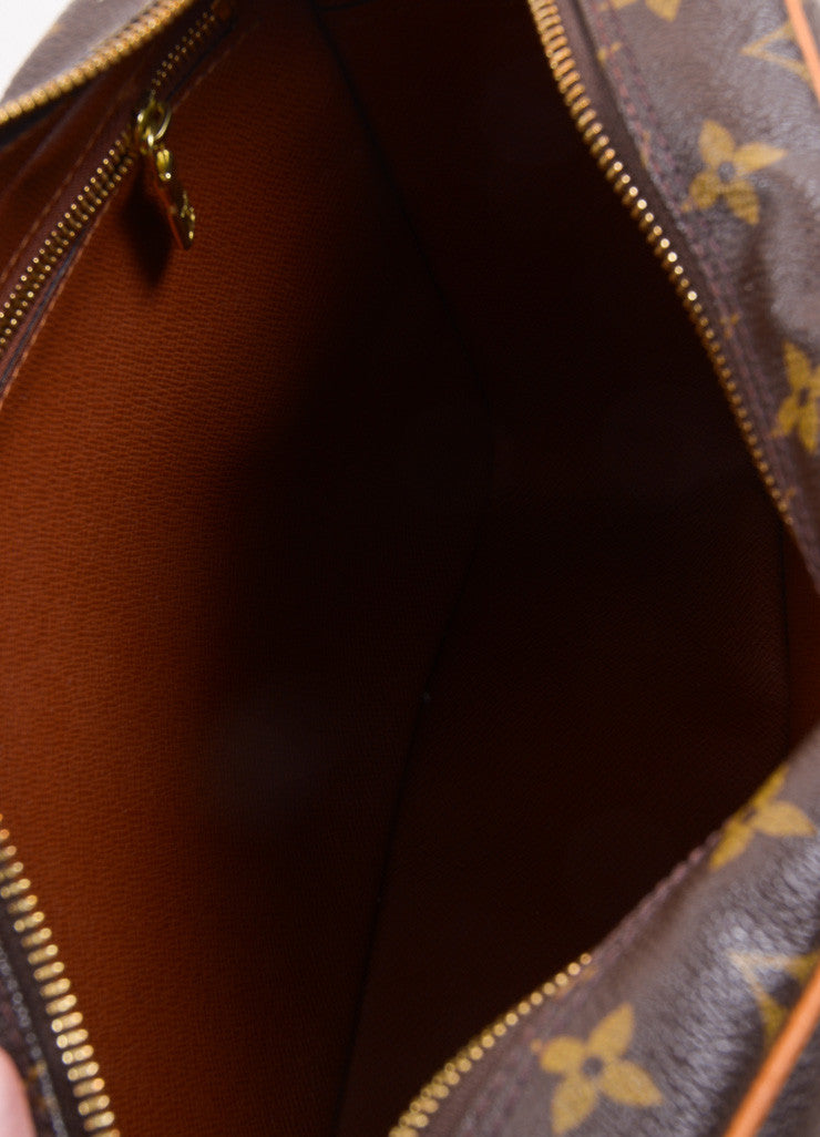 "Louis Vuitton Brown Coated Canvas Leather Monogram ""Trocadero 27"" Cross Body Bag Interior"
