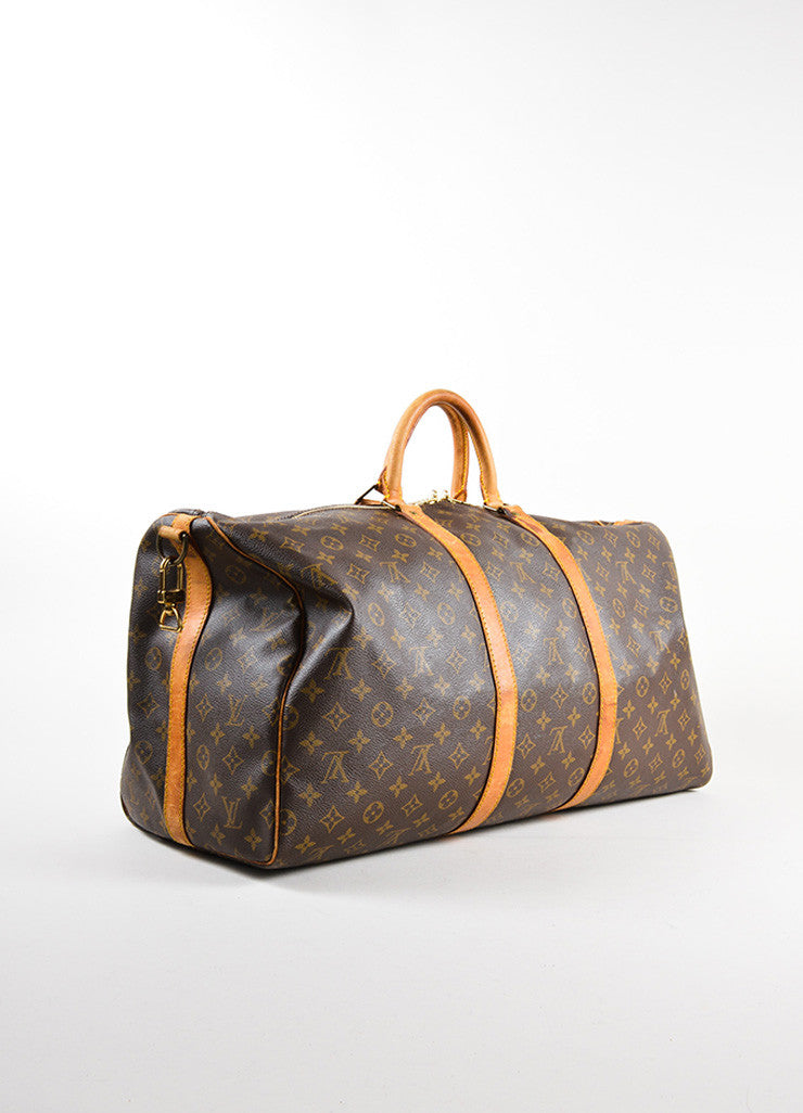 "Louis Vuitton Brown Canvas and Leather Monogram ""Keepall 55 Bandouliere"" Bag Sideview"