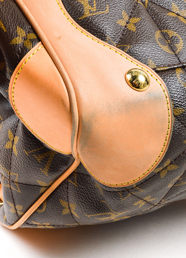 "Brown Tan Louis Vuitton Coated Canvas Monogram Quilted ""Etoile Tote Detail 2"